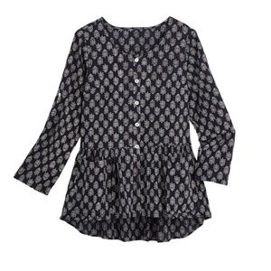 April Cornell Block Print Hi/Low Pocket Tunic Top